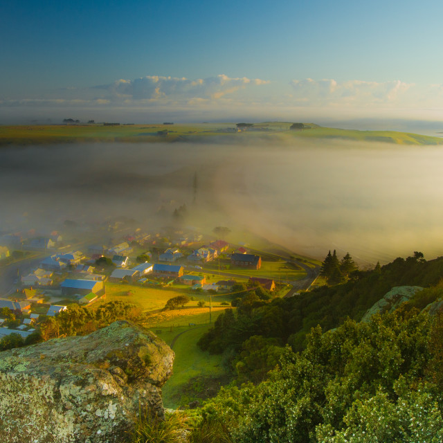 """Fog Clearing over Seaside Villiage 2"" stock image"