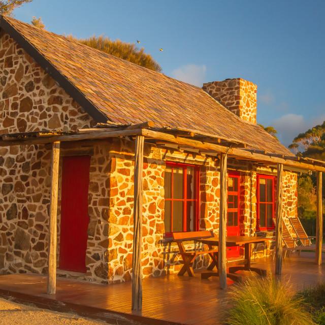 """""""Stone Seaside Cottage at Sunset"""" stock image"""