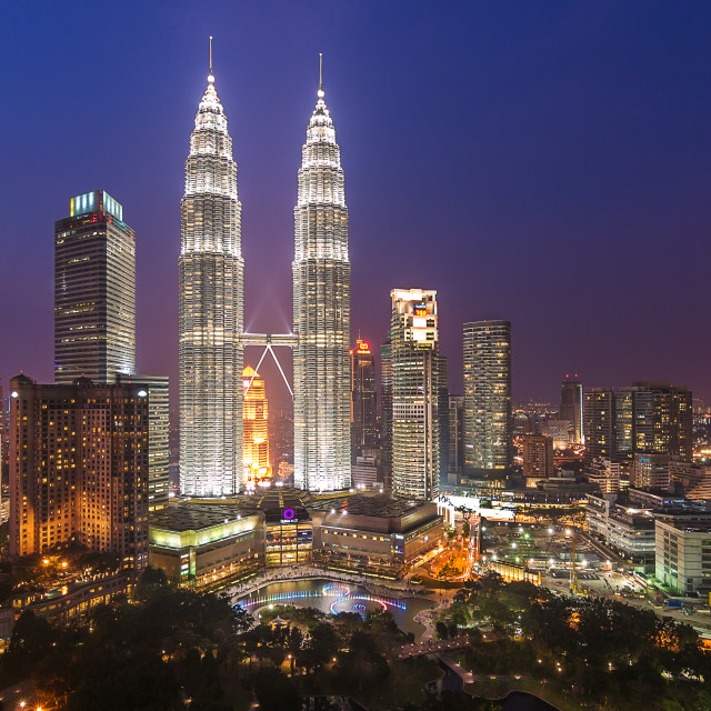 """KLCC Malaysia in Blue Hour"" stock image"