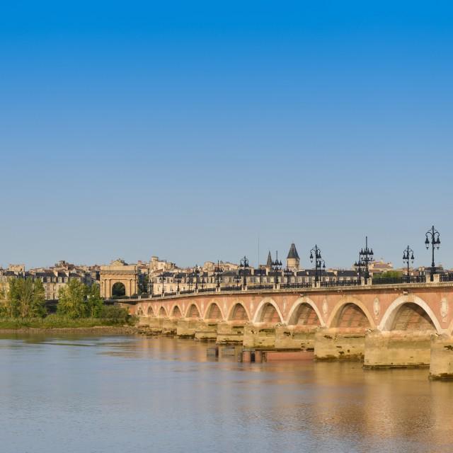 """""""France, Bordeaux, 33, Pierre bridge and Saint Michel church"""" stock image"""