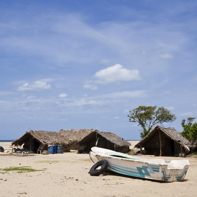 """""""Fisherman hut in Kokkilai lagoon, Sri Lanka"""" stock image"""