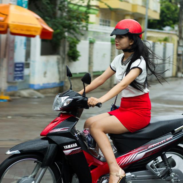 """""""Hot girl on bike"""" stock image"""