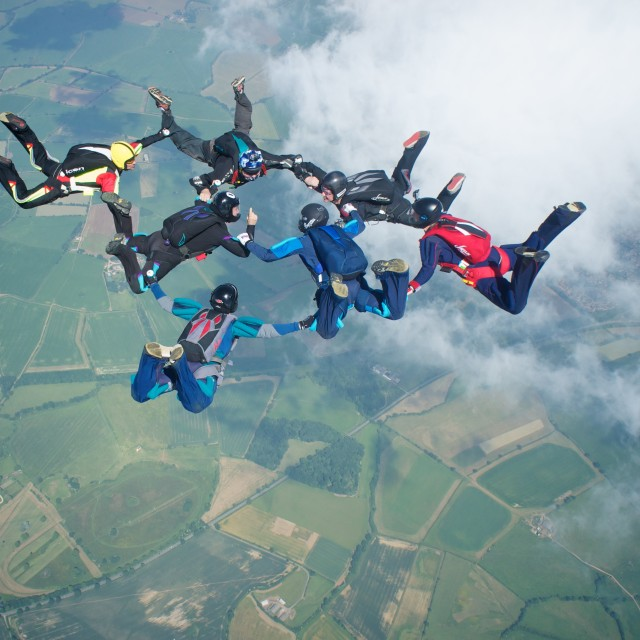 """Skydivers in formation"" stock image"