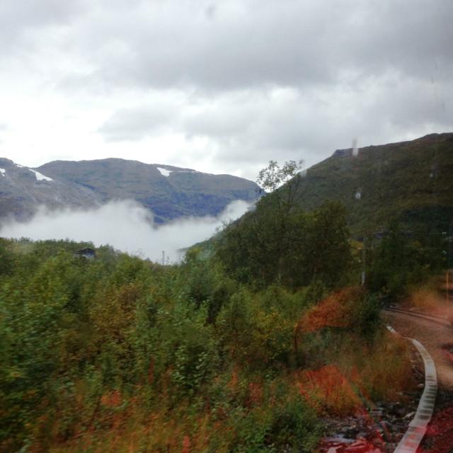 """A train journey through Norwegian Mountains"" stock image"