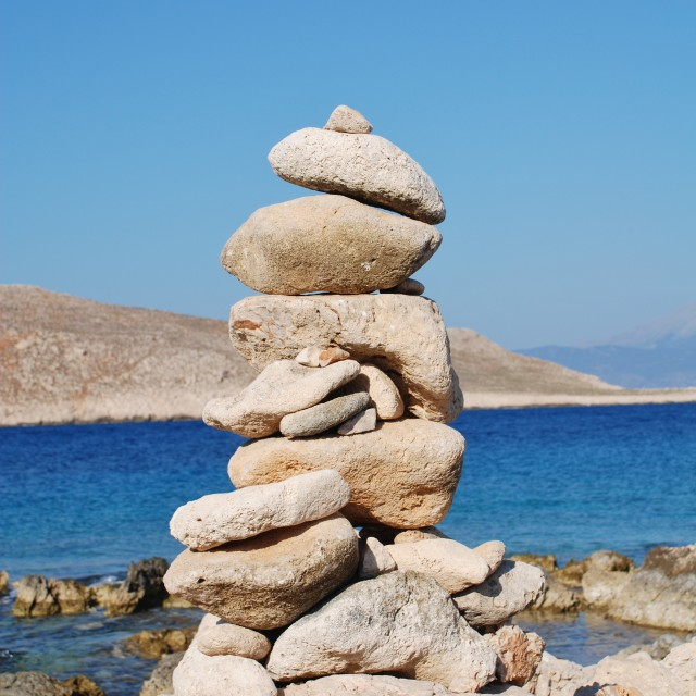 """Stone tower, Halki"" stock image"
