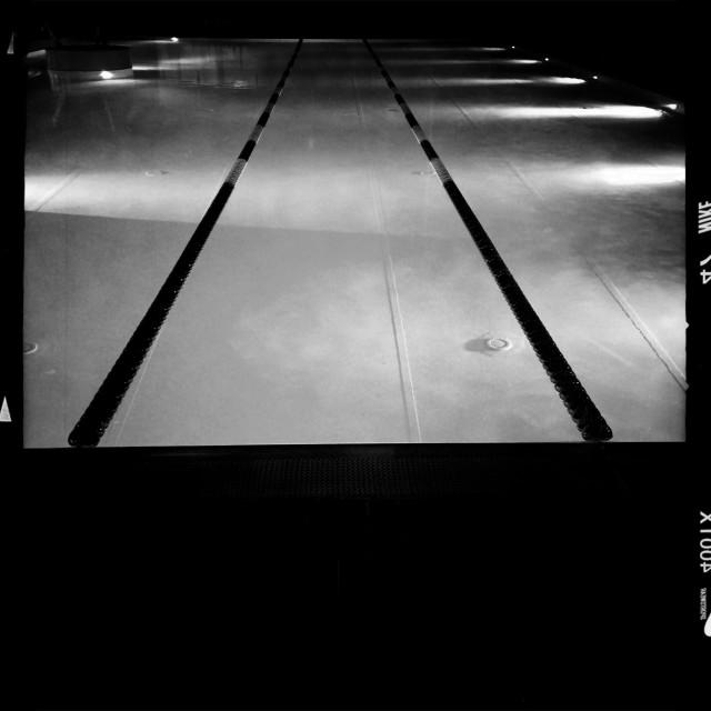 """Swimmingpool by night"" stock image"