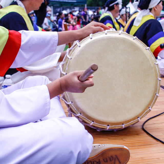 """""""Korean drum played at festival grounds"""" stock image"""