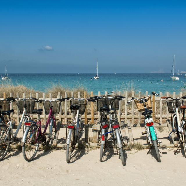 """Bike parking in Formentera"" stock image"