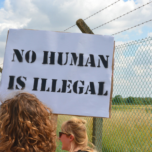 """No Human Is Illegal."" stock image"