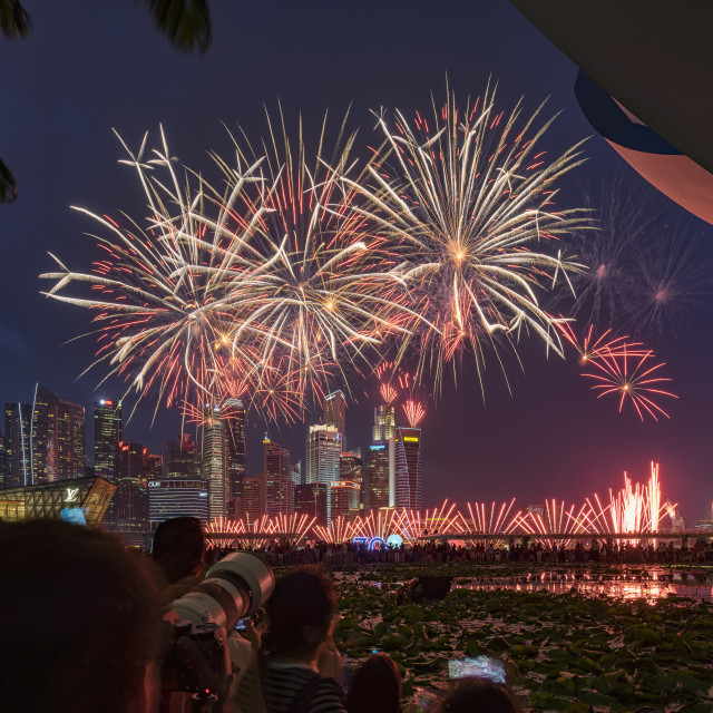 """""""National Day 2015 Singpore Fireworks"""" stock image"""