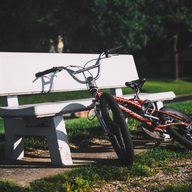"""Bench and Bike"" stock image"