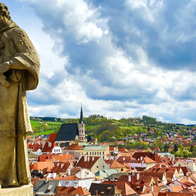 """""""View on Krumlov in Bohemia"""" stock image"""
