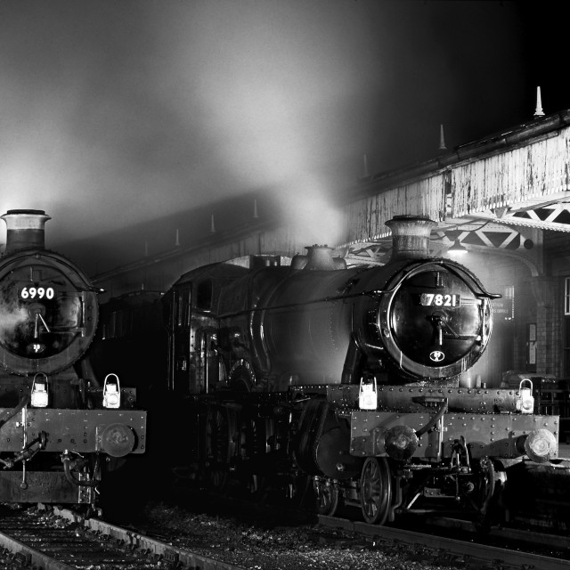 """Steam locomotives waiting at night"" stock image"