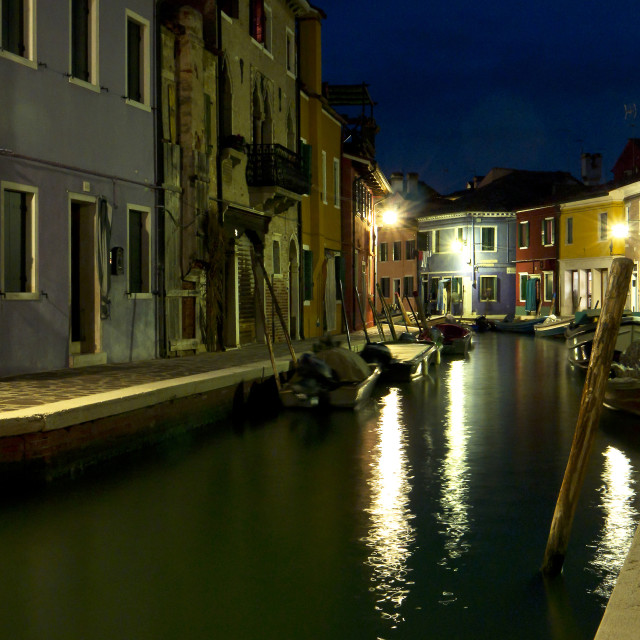 """""""Canalside Burano at Night"""" stock image"""