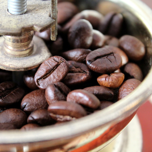 """""""Coffee grinder with as once"""" stock image"""