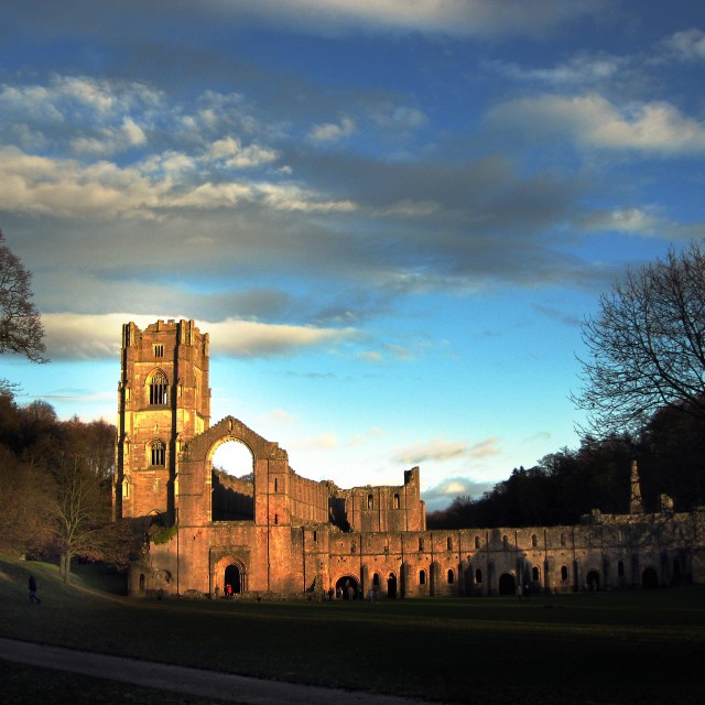 """Fountains Abbey, Yorkshire"" stock image"