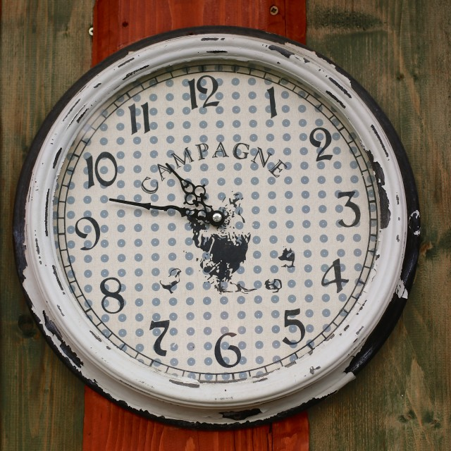 """Old Vintage Analogue Clock Face With Texture Pattern"" stock image"