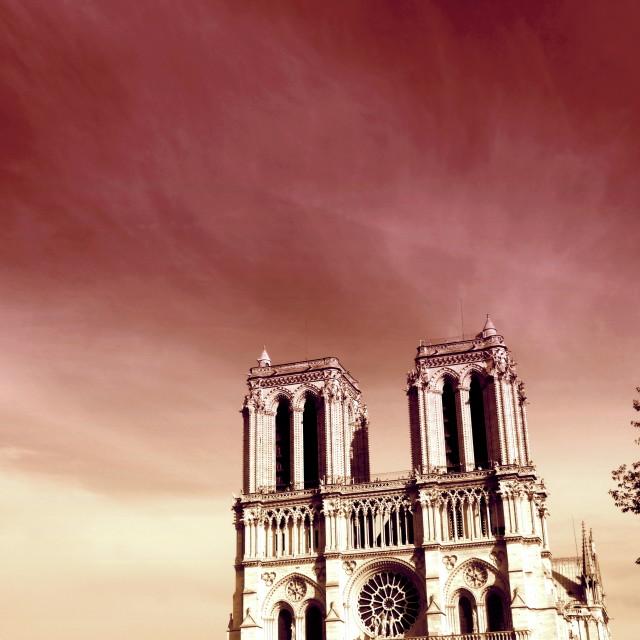 """""""Romantic Notre Dame de Paris"""" stock image"""