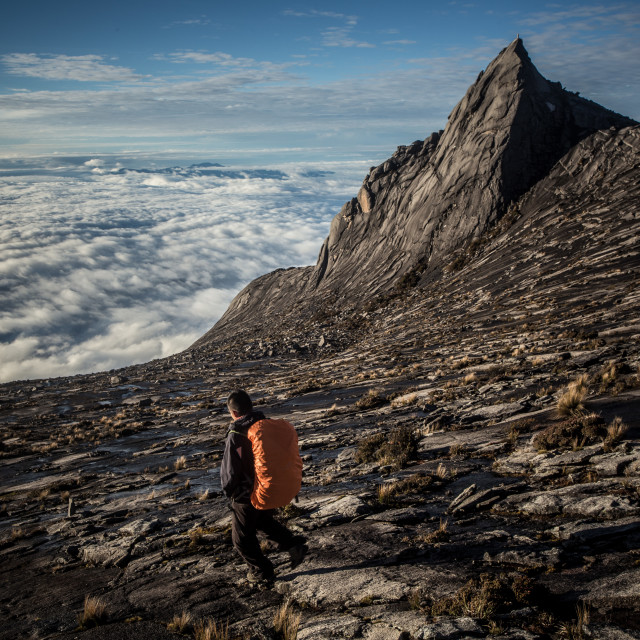 """Hikers at the top of Mount Kinabalu"" stock image"