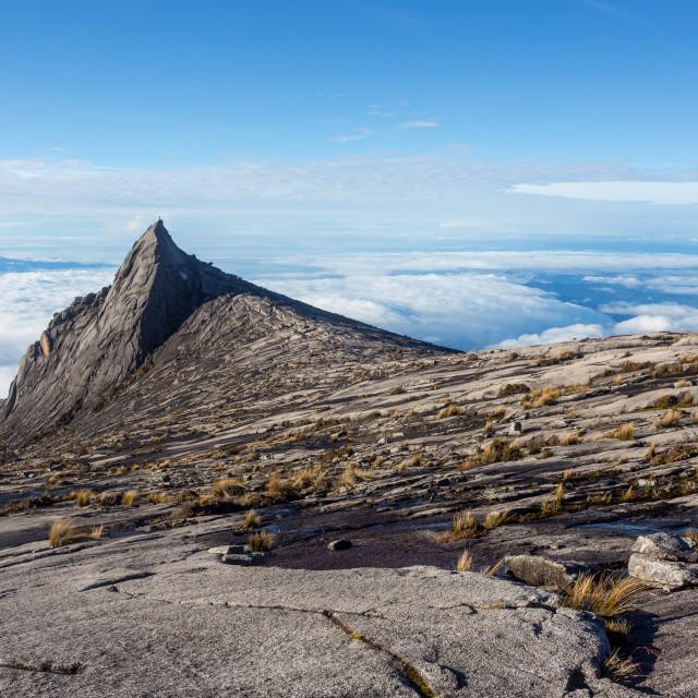 """View of Mount Kinabalu in Sabah, Malaysia."" stock image"