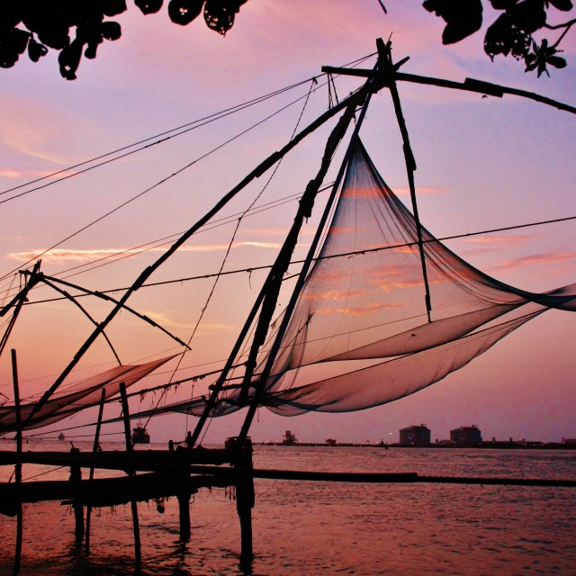 """Chinese Fishing net at Fort Kochi"" stock image"