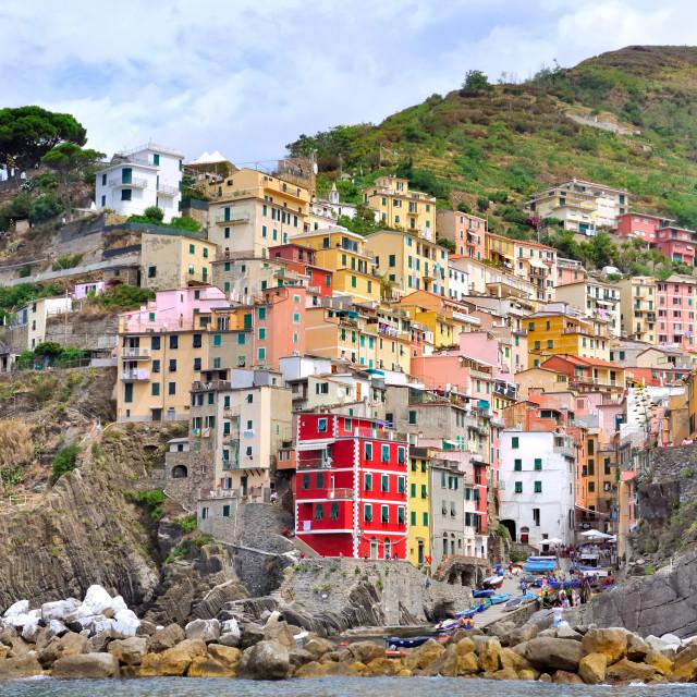 """""""Riomaggiore - village of five land"""" stock image"""