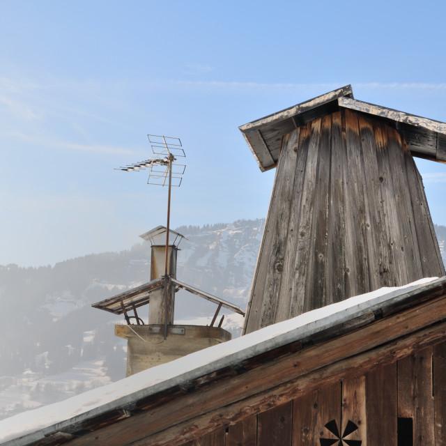 """chimney flue of cottage"" stock image"