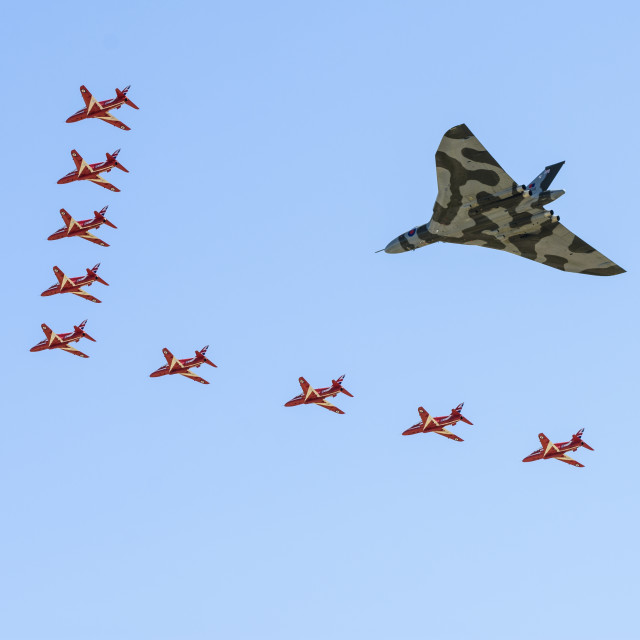 """""""Avro Vulcan XH558 flying with Red Arrows"""" stock image"""