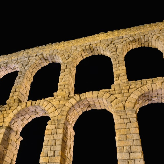 """Night view of aqueduct of Segovia, Spain."" stock image"