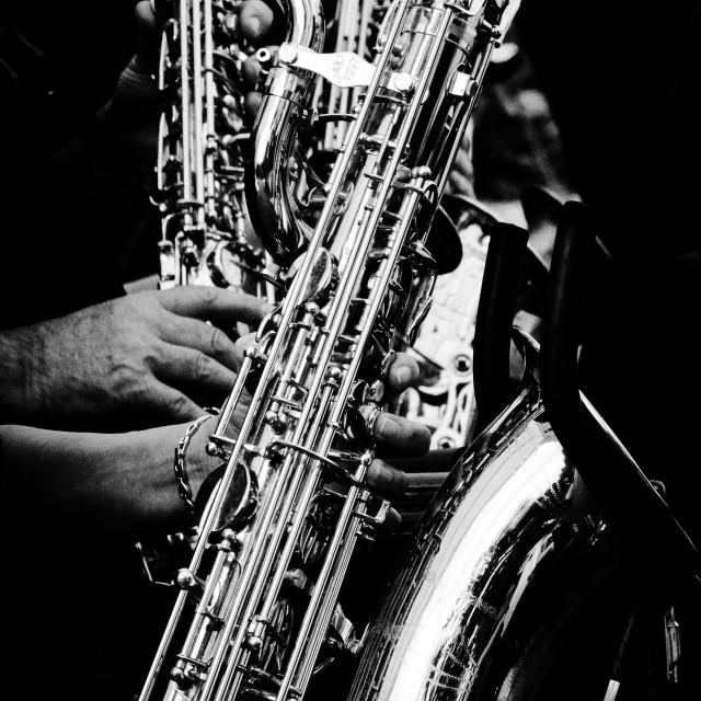 """""""Hands & Saxophones"""" stock image"""