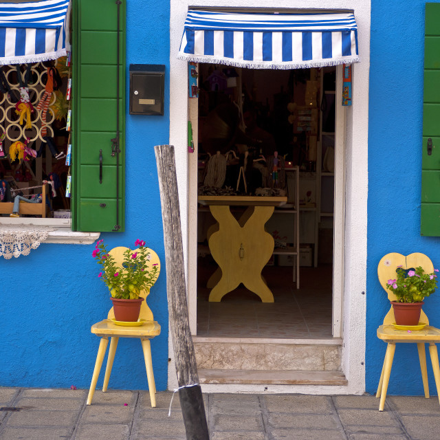 """""""Canalside Shop Burano"""" stock image"""