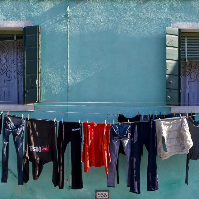 """Green Wall and Washing, Burano"" stock image"
