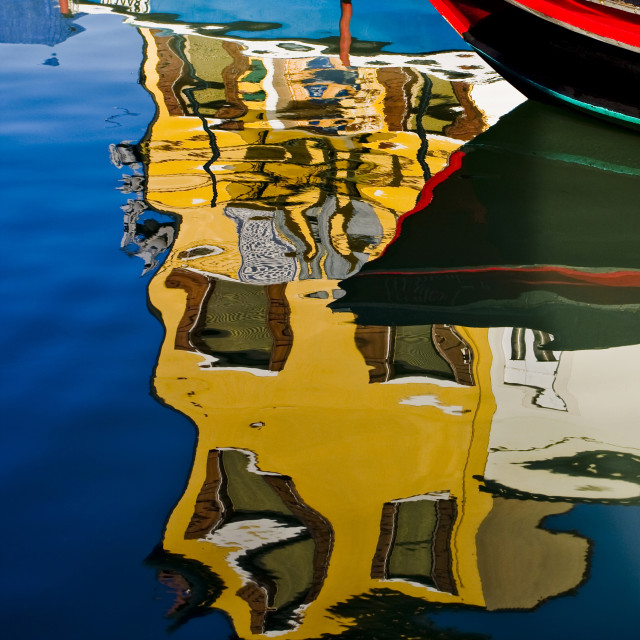 """""""House and Boat Reflection"""" stock image"""