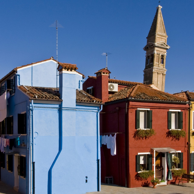 """""""Leaning Campanile and Burano Houses"""" stock image"""