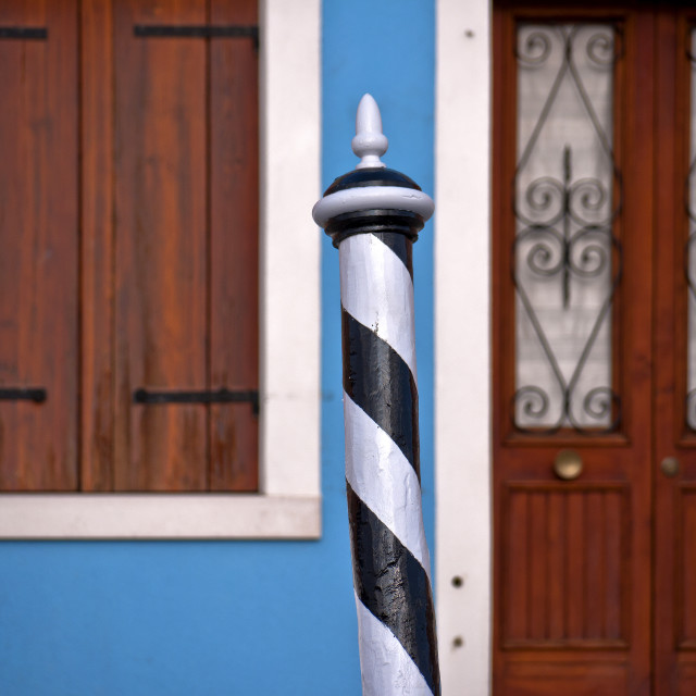 """""""Mooring Post and Blue Wall"""" stock image"""