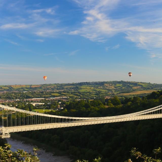 """""""Bristol Balloon Fiesta & Clifton Bridge"""" stock image"""