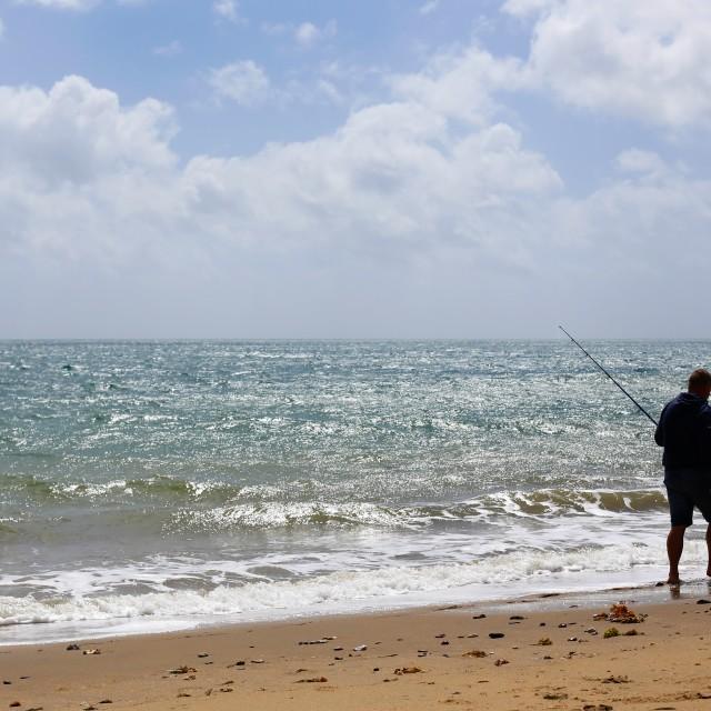 """Fisherman on Sandown Beach Isle of Wight"" stock image"