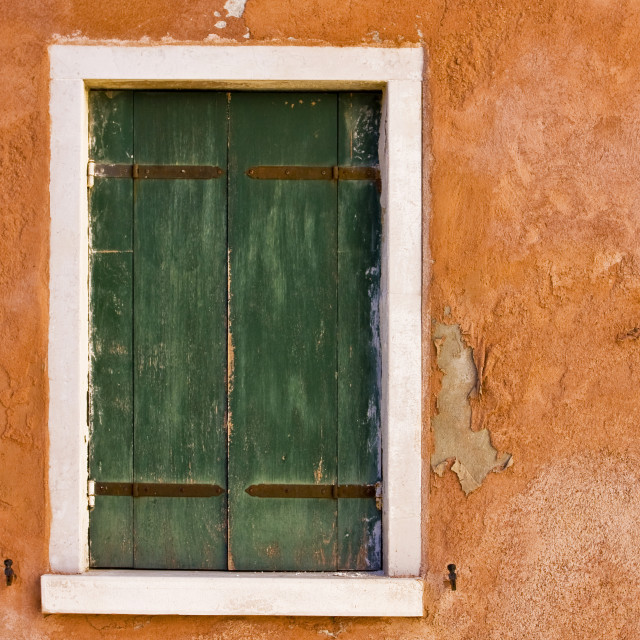 """""""Orange Wall and Green Shutters"""" stock image"""