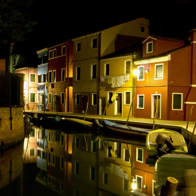 """""""Residential Burano at Night"""" stock image"""