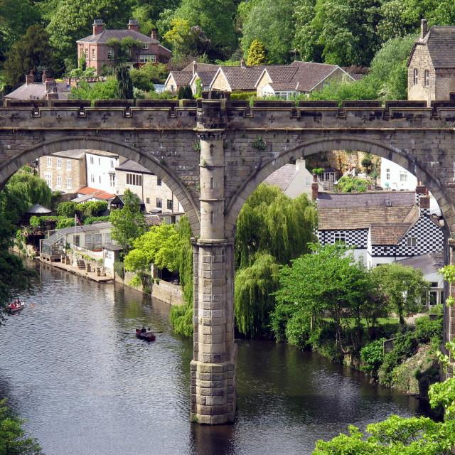 """Knaresborough on the River Nidd , Yorkshire"" stock image"