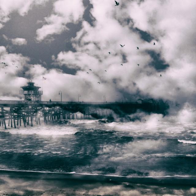 """""""Pier in morning fog"""" stock image"""