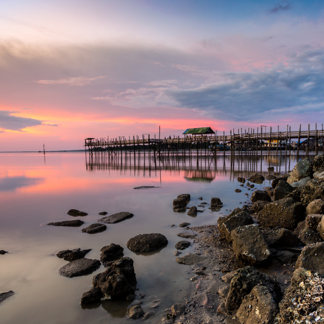 """Sunset at Fishing Village"" stock image"