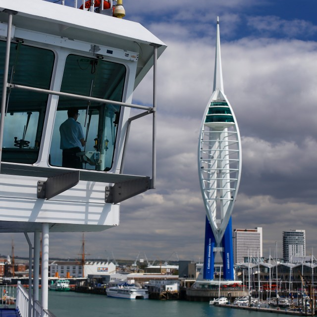 """Captain Sailing into Portsmouth"" stock image"