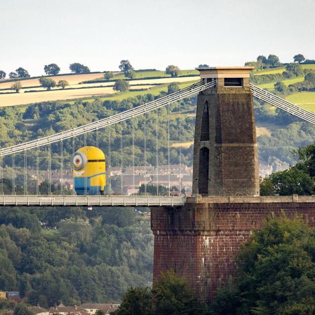 """Minion on Clifton Suspension Bridge"" stock image"