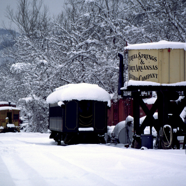 """Eureka Springs Arkansas Railway Station-Winter"" stock image"