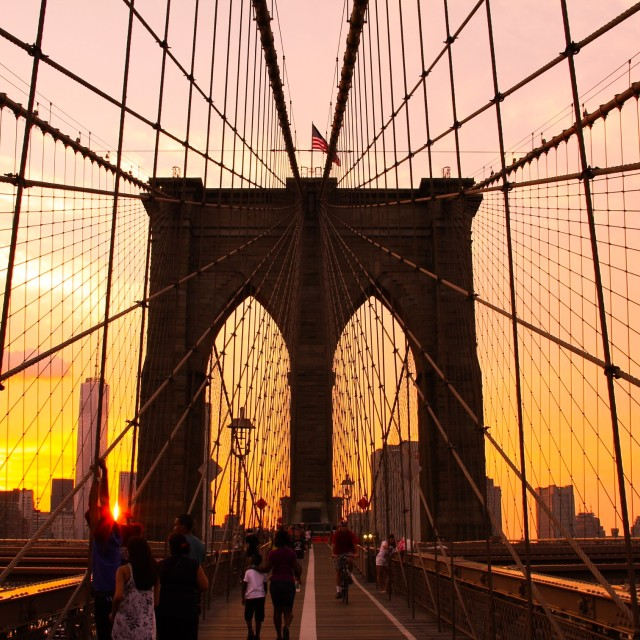 """brooklyn bridge at sunset"" stock image"