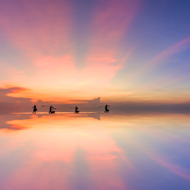 """""""Morning on the beach in Bac Lieu province, Vietnam"""" stock image"""