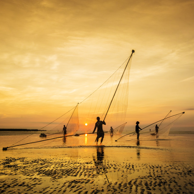 """Morning on the beach in Bac Lieu province, Vietnam"" stock image"