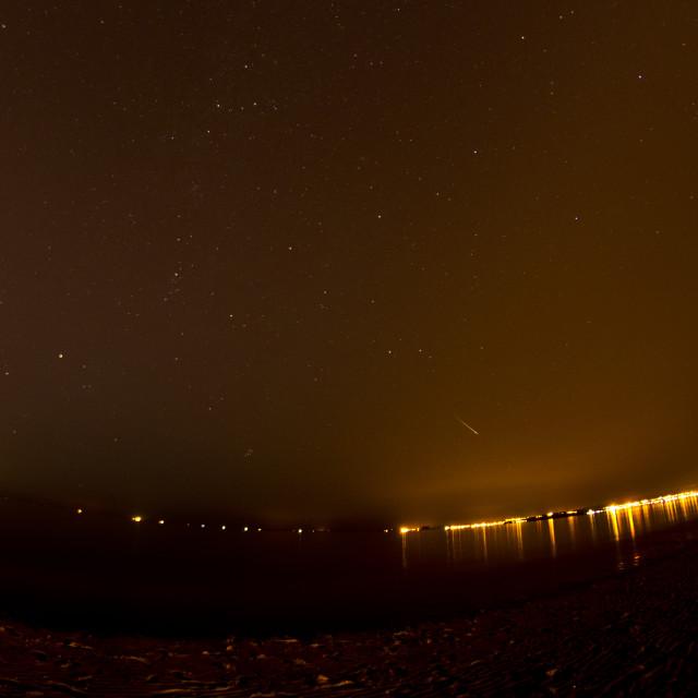 """Meteor from Perseid Meteor Shower, taken from Portobello Beach, Edinburgh"" stock image"
