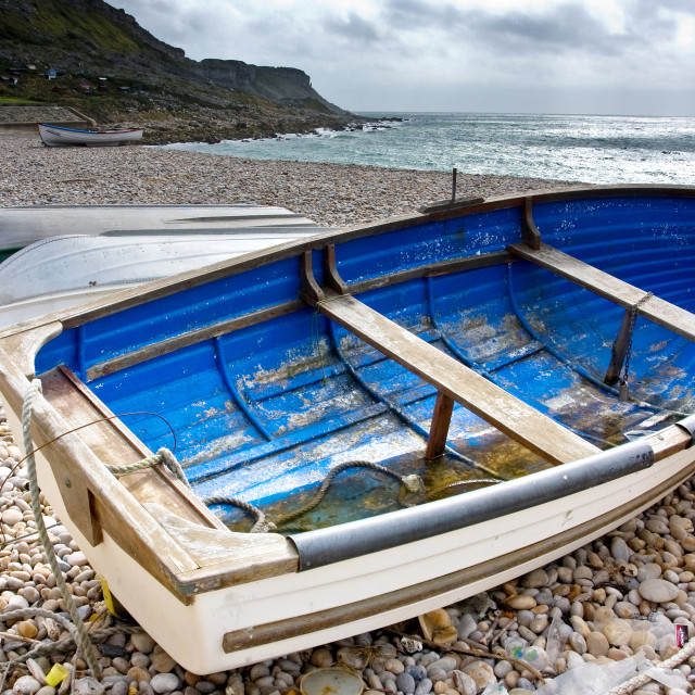 """Blue Boat - Chesil"" stock image"